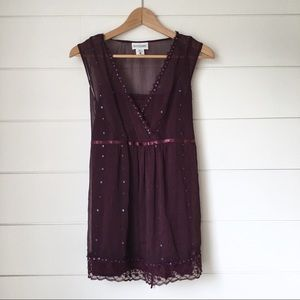 MOTHERHOOD MATERNITY Plum Beaded Blouse